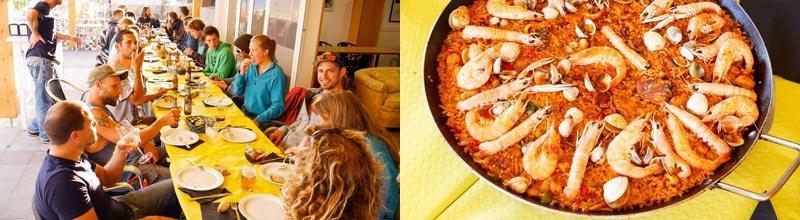 Camino Surfcamp Galicia Javi Restaurant Paella Dinner DE
